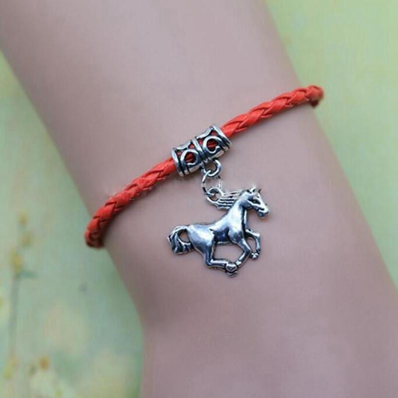 Animals Horses Braided Leather Rope Horse Charm Bracelet